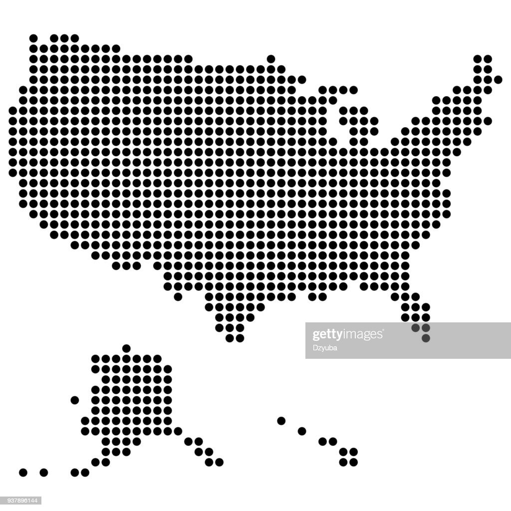 USA map made of round dots