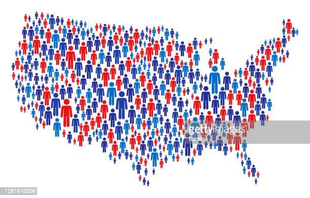 illustrazioni stock, clip art, cartoni animati e icone di tendenza di usa map made of stickman figure with patriotic colors - rappresentazione umana
