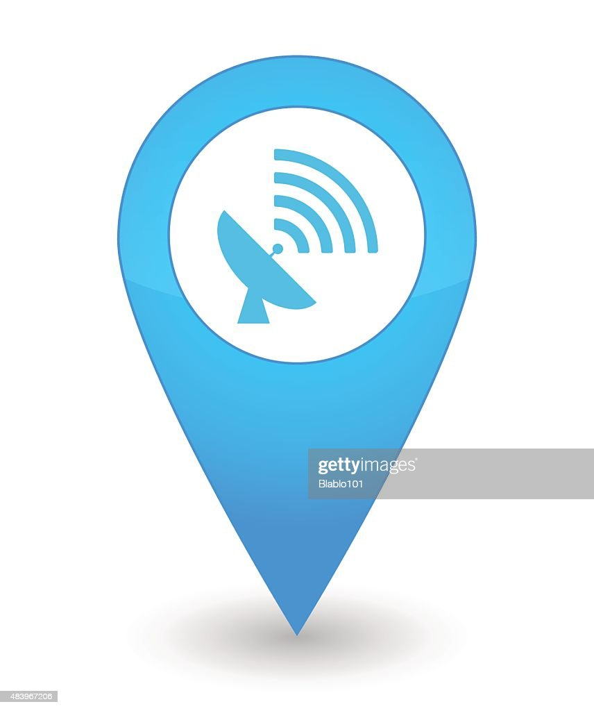 Map mark with an antenna icon