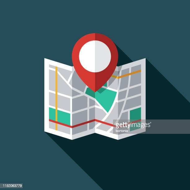 map marker icon - folded stock illustrations