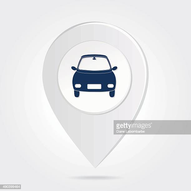 Map Marker Pin Blue Compact Car Silhouette Round Icon Button