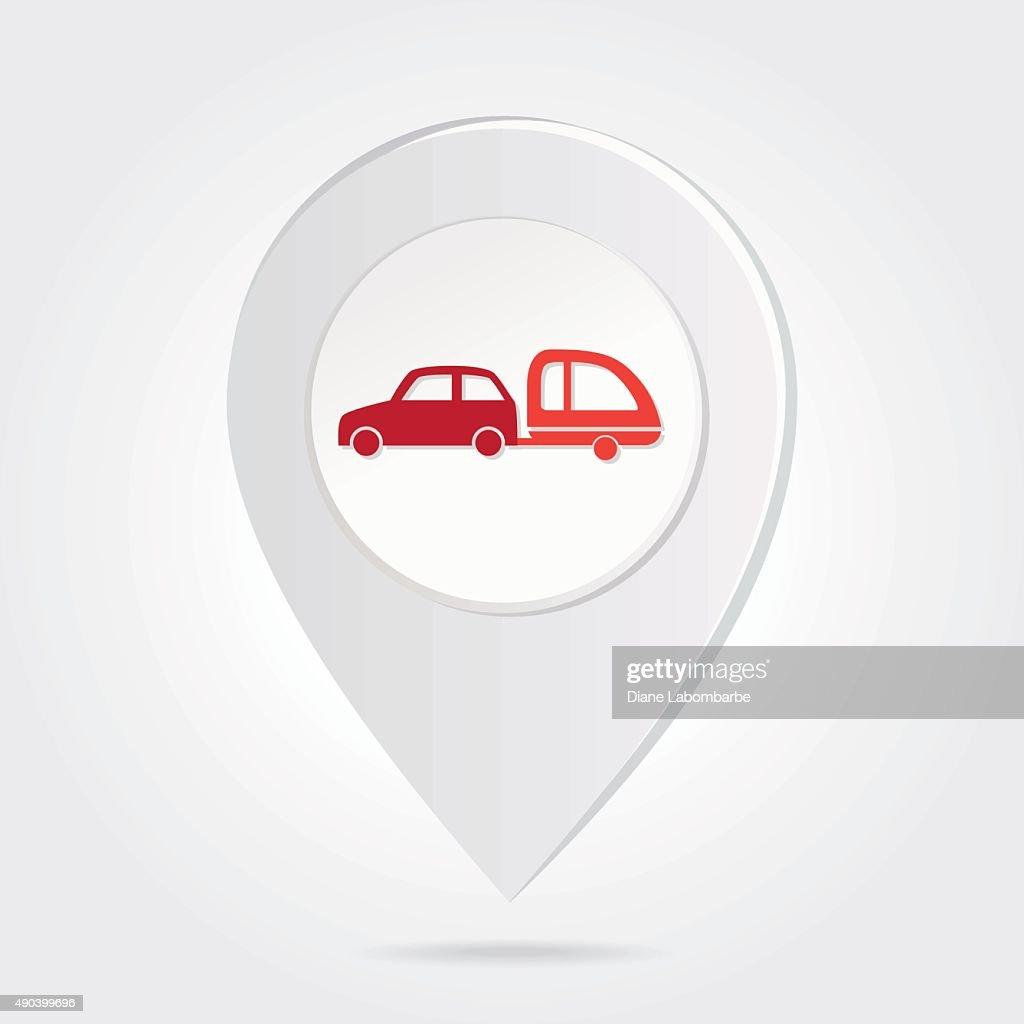 Map Marker Pin Red Car And Trailer On Round Icon High Res Vector
