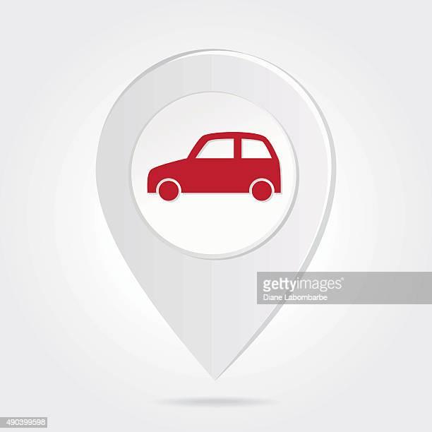 Mapa de marcadores de contacto rojo coche Silueta en icono Botón redondo