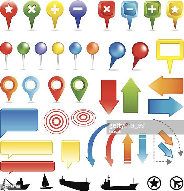 map markers colorful - straight pin stock illustrations, clip art, cartoons, & icons