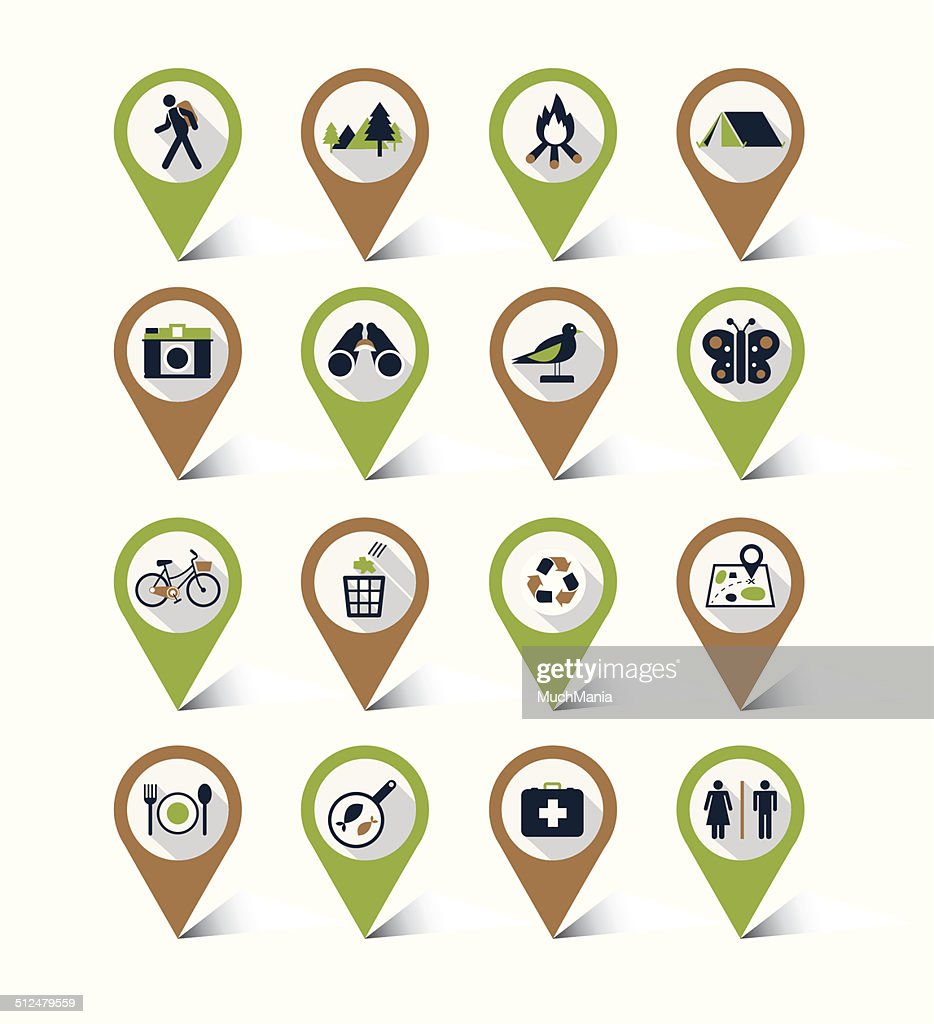 Map markers icons set : Nature & Eco, Trips&Travel