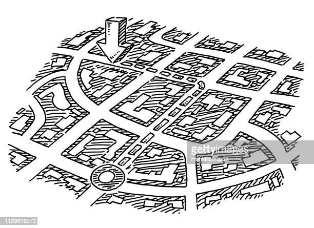 Karte Navigation Führung Konzept Zeichnung