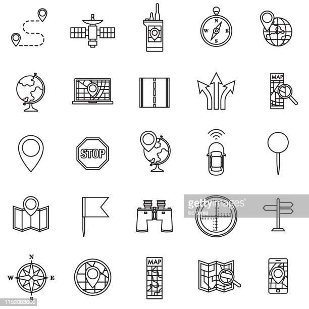 map & navigation icon set - wegweiser stock-grafiken, -clipart, -cartoons und -symbole