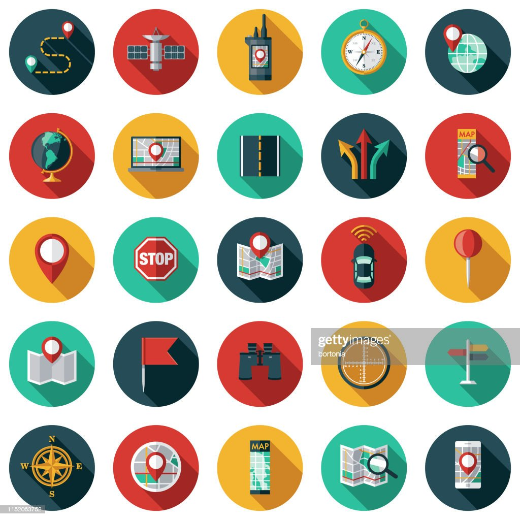 Map & Navigation Icon Set : stock illustration
