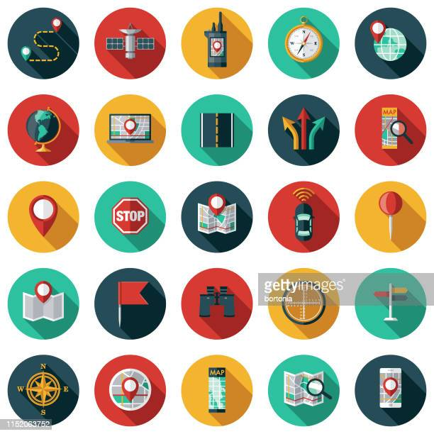 map & navigation icon set - color image stock illustrations