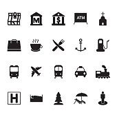 Map navigation legend icon set. Map locations vector icons. Vector.