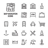 Map navigation legend thin line icon set. Map locations vector icons. Vector.