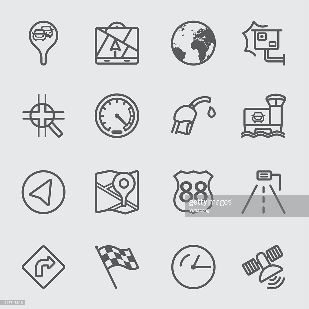Map navigation line icon