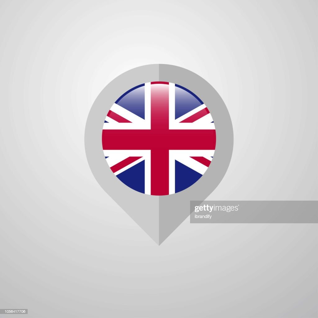 Map Navigation pointer with United Kingdom flag design vector