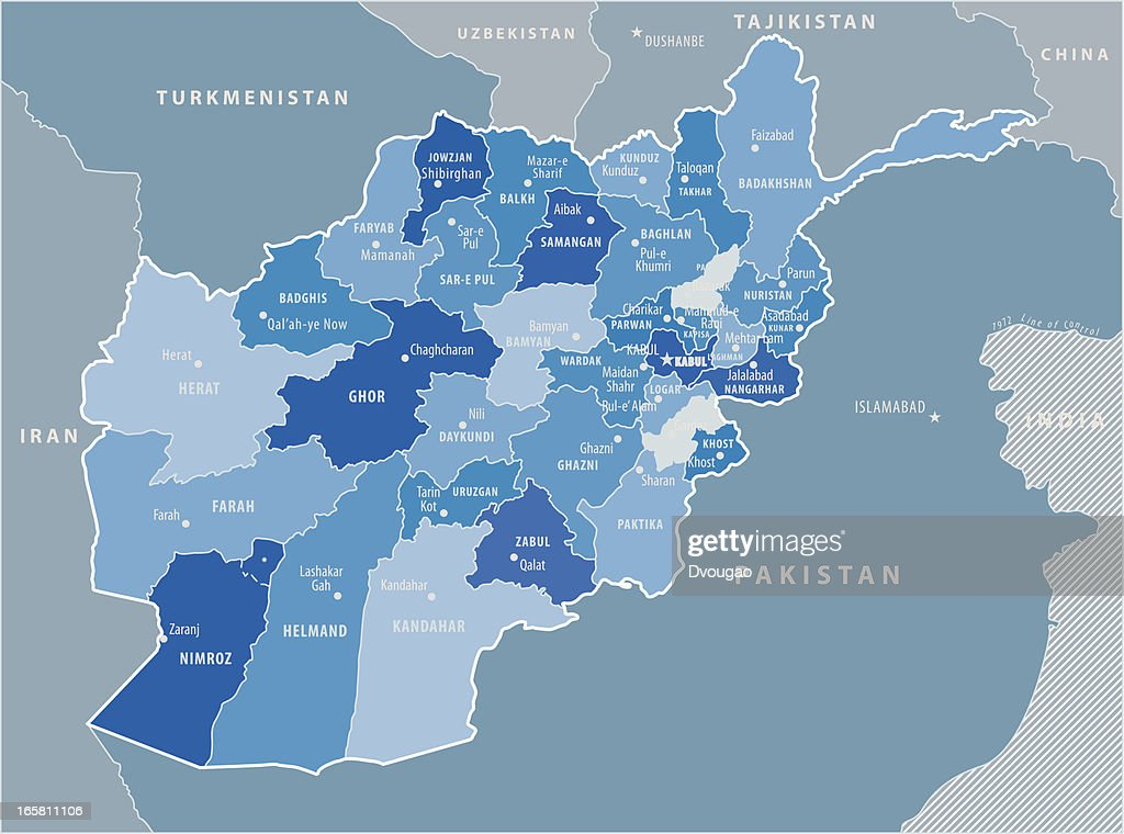 Map Of Afghanistan-Blue