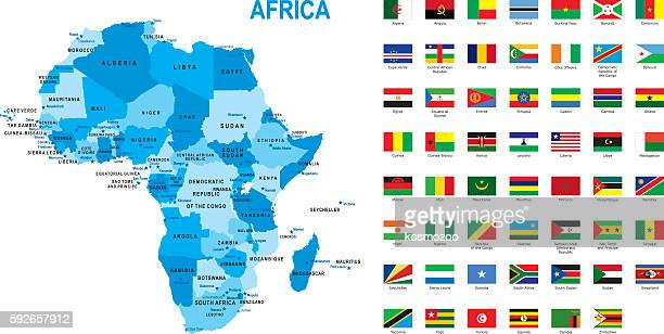 map of Africa with flag against white background