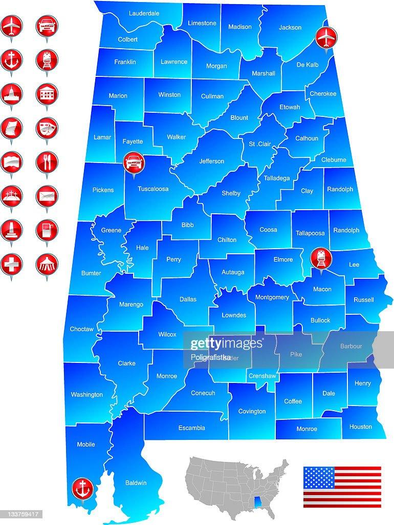 Map of Alabama : stock illustration