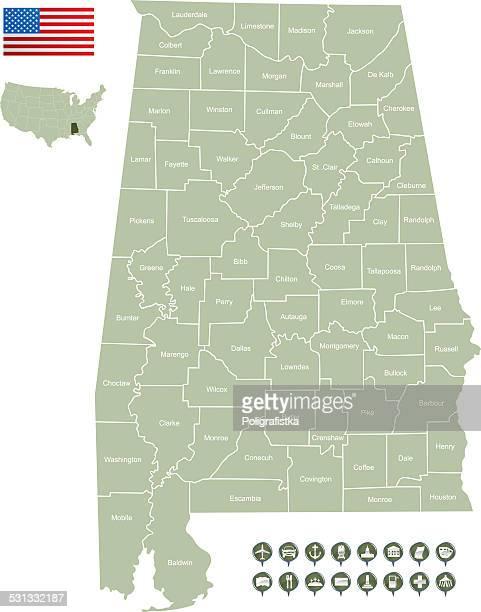 map of alabama - alabama us state stock illustrations, clip art, cartoons, & icons