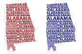 Map of Alabama - vector illustration