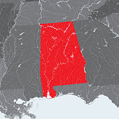 Map of Alabama with lakes and rivers.