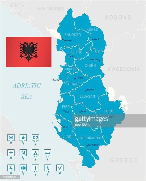 map of albania - states, cities, flag, navigation icons - tirana stock illustrations, clip art, cartoons, & icons