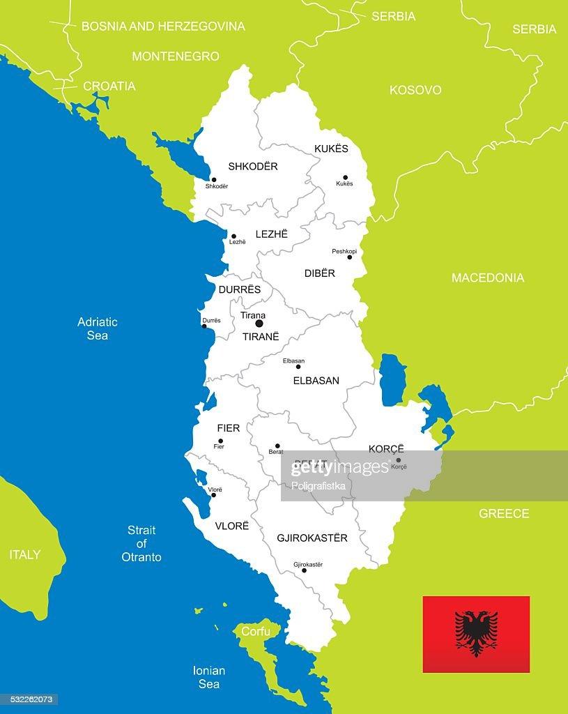 Karte Albanien.Karte Von Albanien Vektorgrafik Getty Images
