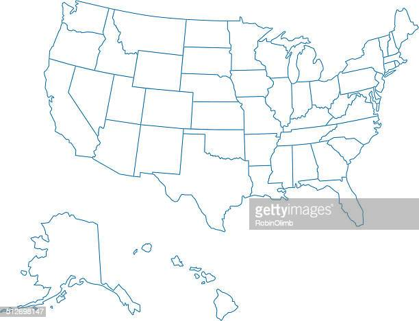 usa map of all fifty states - gulf coast states stock illustrations