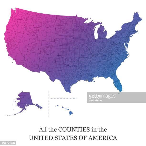 米国のすべての郡の地図 - 支援団体点のイラスト素材/クリップアート素材/マンガ素材/アイコン素材