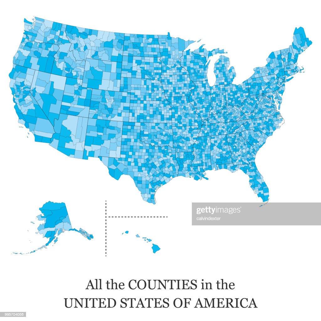 Kaart van alle de County's in de VS : Stockillustraties