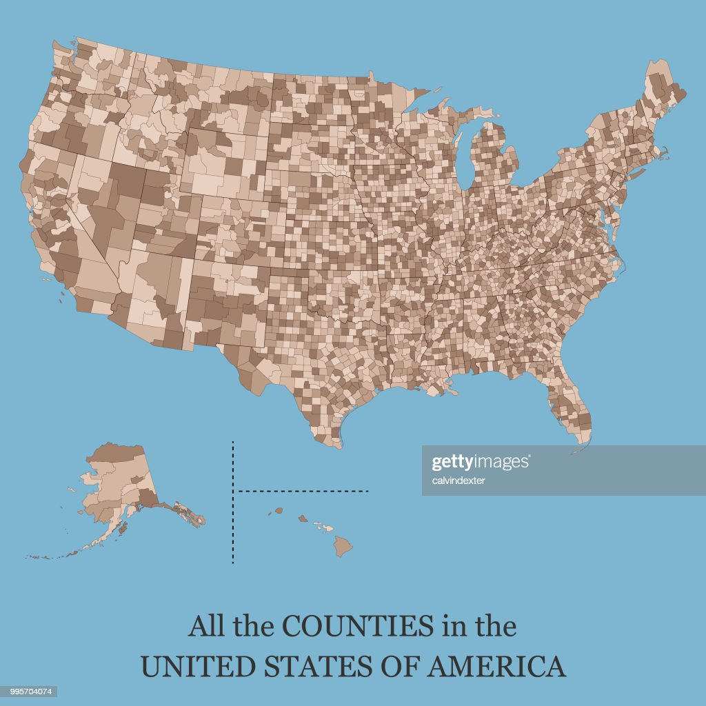 Map of all the counties in the USA : stock illustration