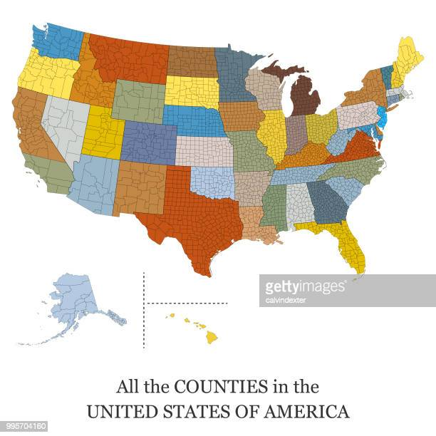 map of all the counties in the usa - werkzeug stock illustrations