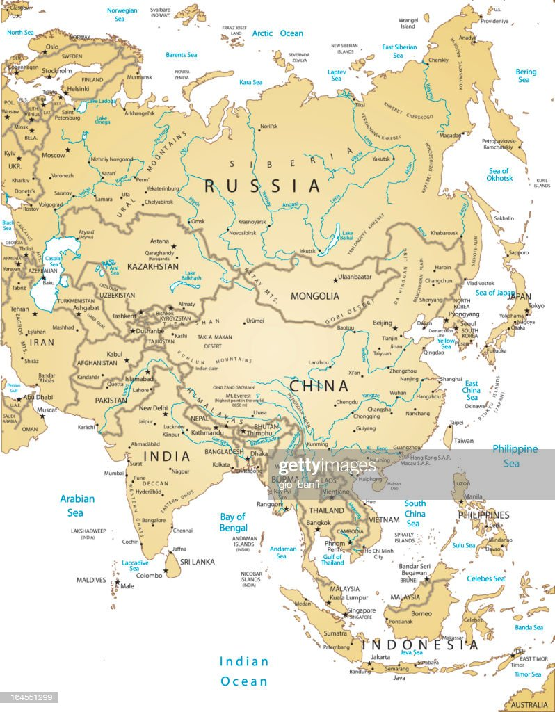 Map Of All Of Asia.A Map Of All The Countries Of Asia Stock Illustration Getty Images