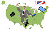Map of America and Happy man. Businessman or manager smiling and dollar banknotes isolated. Cartoon. Vector illustration.