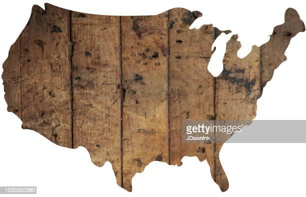 ilustrações, clipart, desenhos animados e ícones de mapa da textura de madeira de américa ou dos eua - usa
