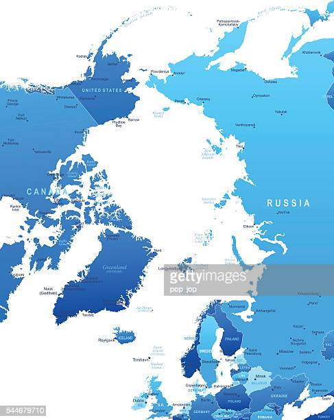 Map of Arctic Region - states and cities