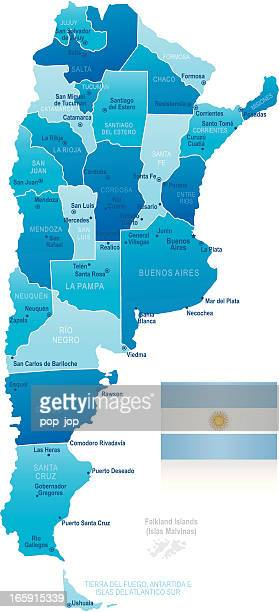 Map of Argentina - states, cities and flag
