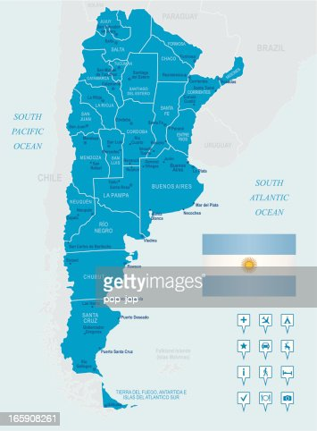 Map of argentina states cities flag and navigation icons vector map of argentina states cities flag and navigation icons vector art getty images gumiabroncs Images