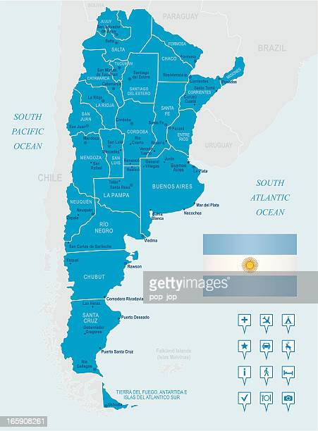 Map of Argentina - states, cities, flag and navigation icons