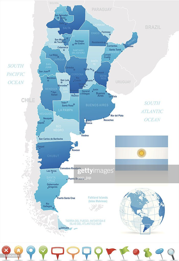 Map Of Argentina States Cities Flag And Navigation Icons Vector Art