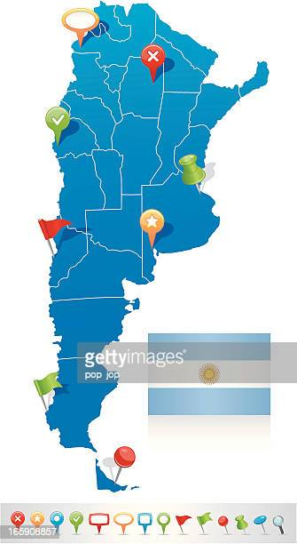 Map of Argentina with navigation icons