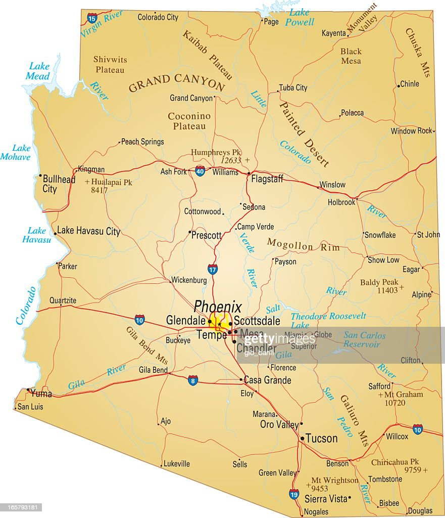 Map Of Arizona Usa Highways Major Roads And Rivers Vector Art