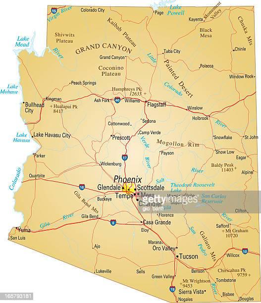 map of arizona, usa highways, major roads, and rivers - arizona stock illustrations