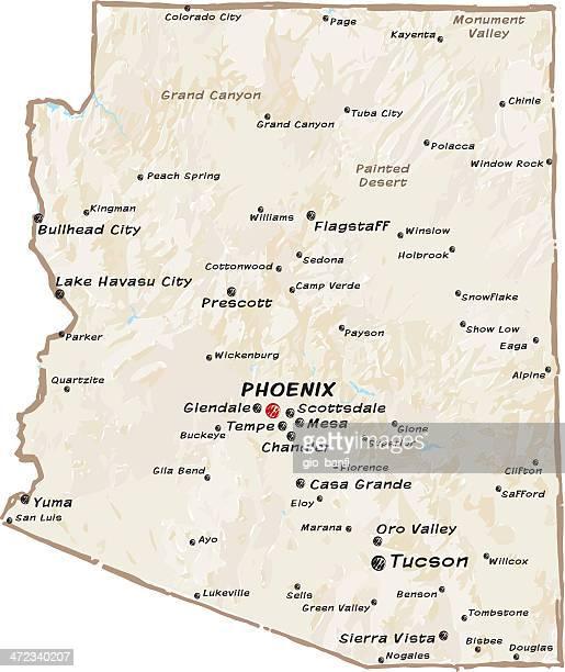 map of arizona - glendale arizona stock illustrations