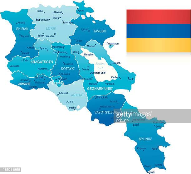 map of armenia - states, cities and flag - armenian flag stock illustrations