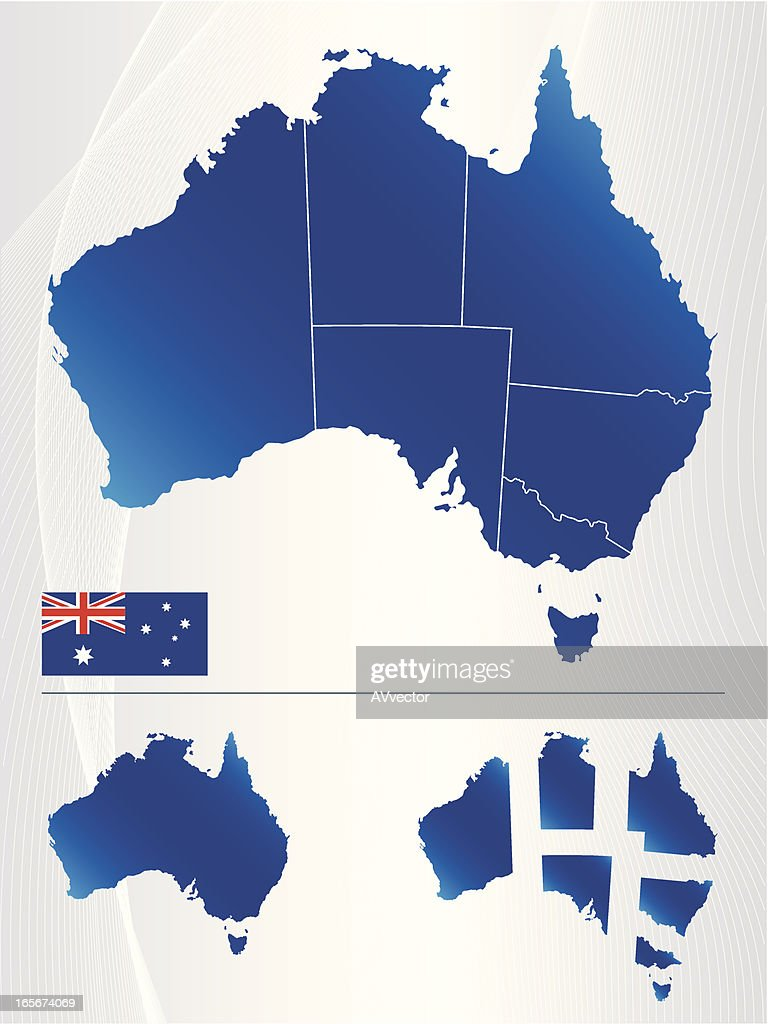 Map of Australia showing states and flag