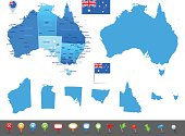 Map of Australia - states, cities and navigation icons
