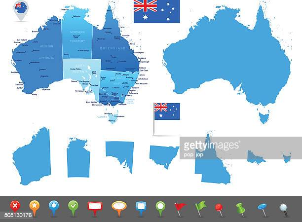map of australia - states, cities and navigation icons - werkzeug stock illustrations