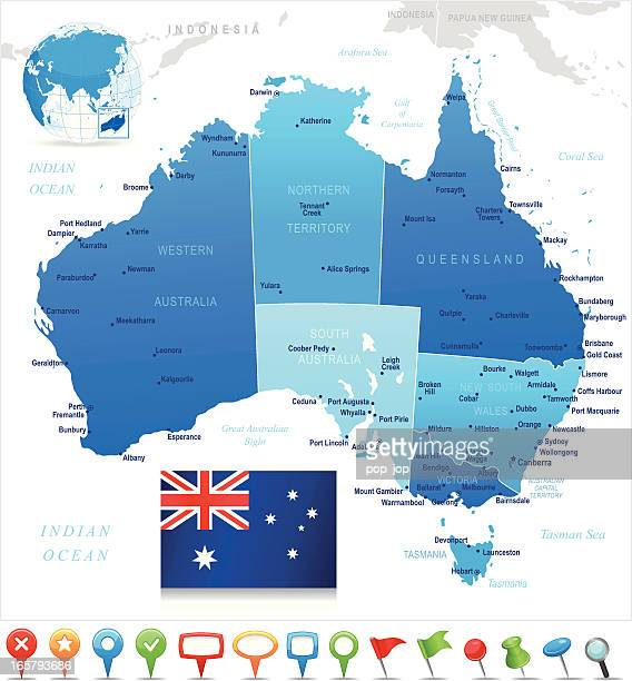 map of australia - states, cities, flag and navigation icons - sydney australia stock illustrations, clip art, cartoons, & icons