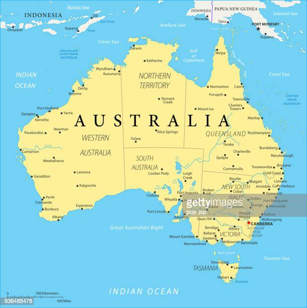 map of australia - vector - south australia stock illustrations