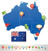 Map of Australia with navigation icons