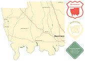 Map of Autauga County in Alabama